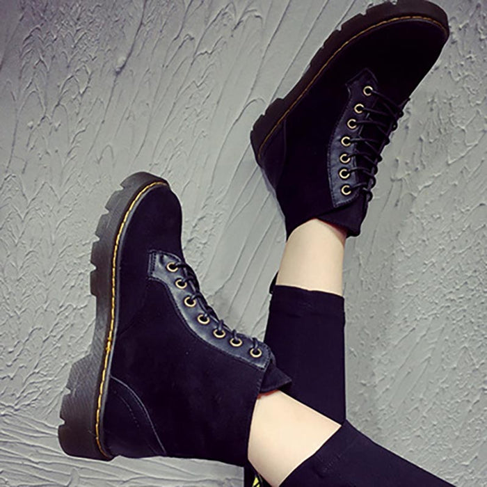 Women Lace-up Spring/Fall PU Casual Boots