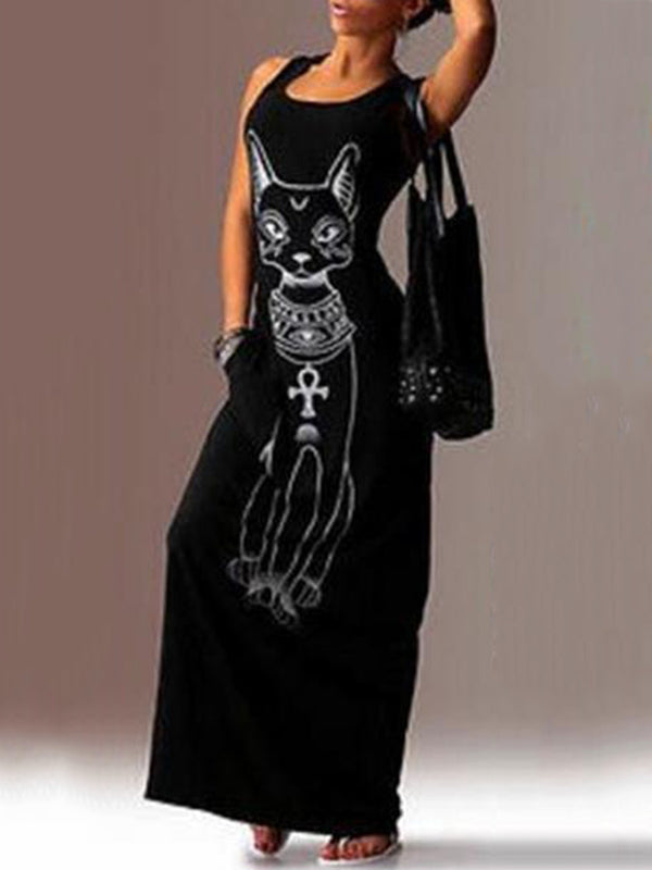 Casual A-line Cats Pockets Sleeveless Plus Size Maxi Dress