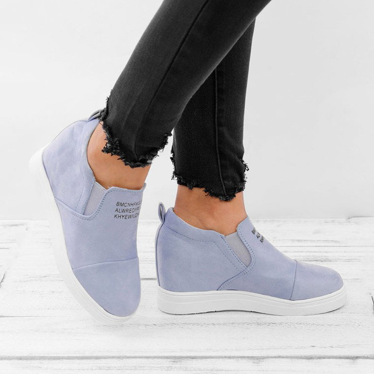 Women Faux Suede Wedge heel Sneakers Slip on Breathable Shoes