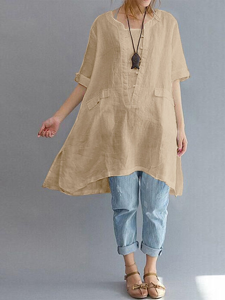 Noracora Linen Clothing For Women Sleeve Dress