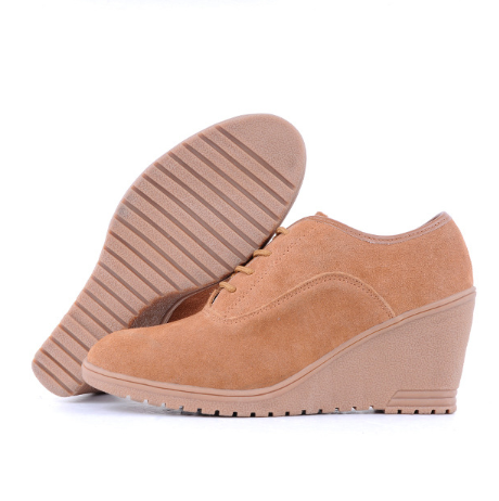Camel Artificial Nubuck Spring/Fall Wedge Heel Lace-up Casual Boots