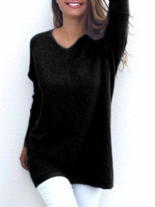 Casual V Neck Long Sleeve Sweaters