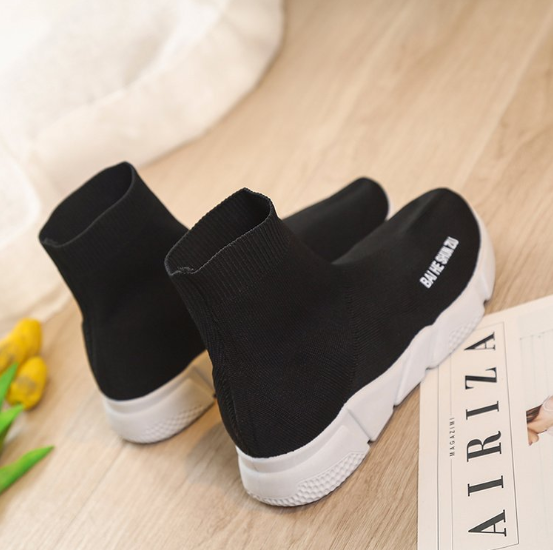 Black Socks Shoes Spring/Fall Athletic Flat Heel Elastic Cloth Shoes