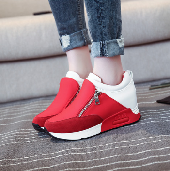 Solid Color Zipper Spring/Fall Athletic Flat Heel Running Hiking Shoes Thick Bottom Platform Shoes