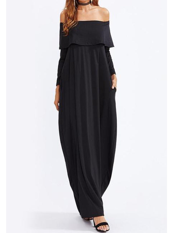 Off Shoulder Flounce Plain Maxi Plus Size Dress