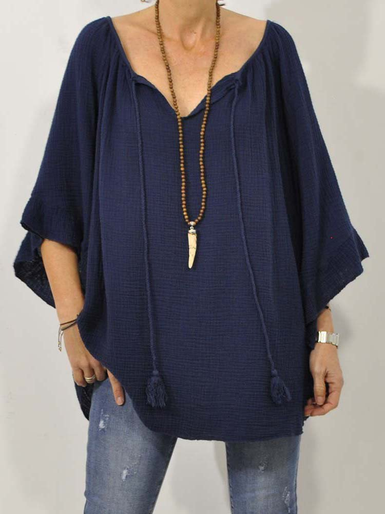 Plus Size Solid Casual V Neck 3/4 Sleeve Tops