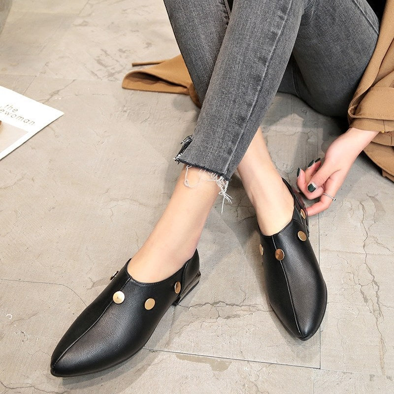 Chunky Heel Spring/Fall PU Rivet Daily Loafers