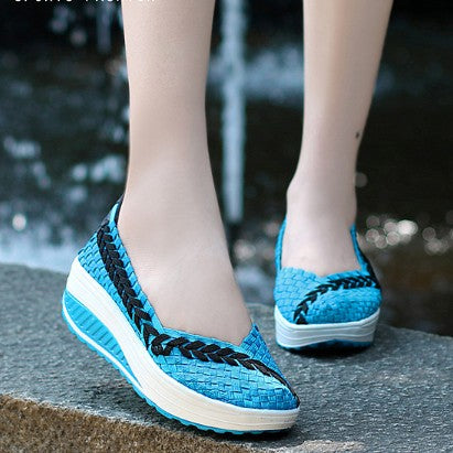 Blue Elastic Textile Splicing Braided Flat Heel Daily Loafers