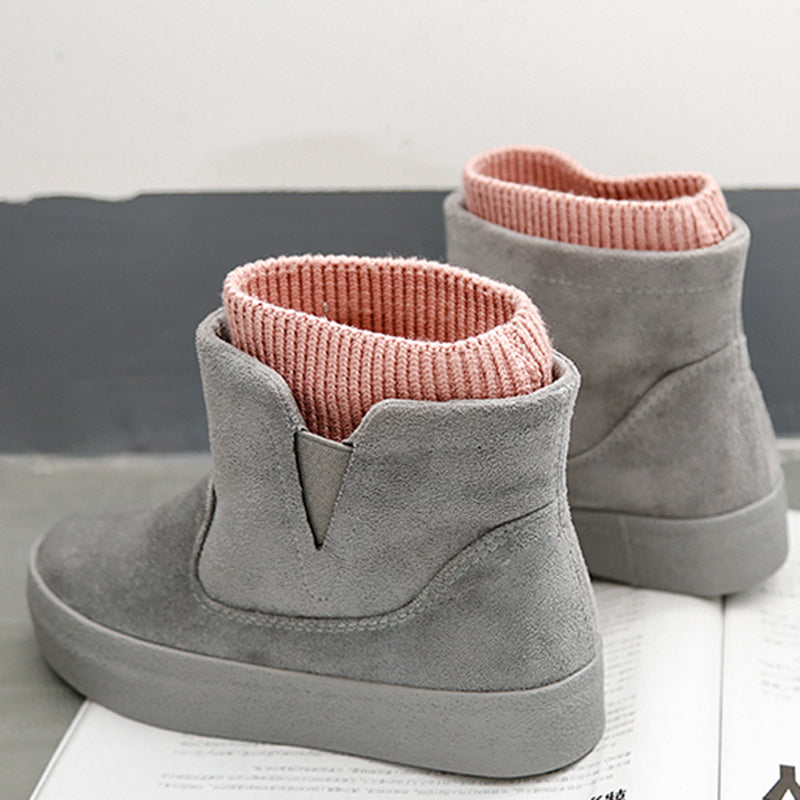 Ati-slip Faux Suede Fleece Lined Knitted Panel Slip-on Boots