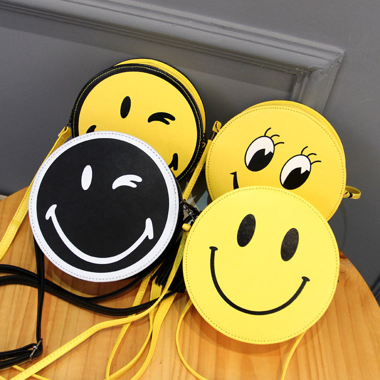 Women's Casual Round Smile Face PU Zipper Purse Crossbody Bags