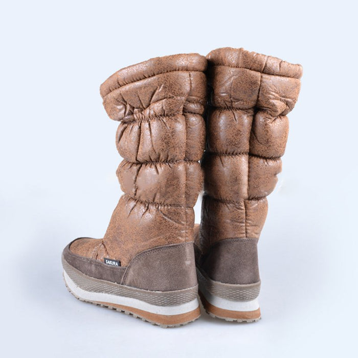 Brown Casual PU Platform Spring/Fall Waterproof Boots