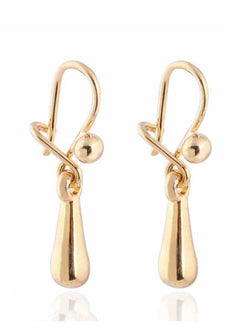 Simple 18k Gold Plated Waterdrop Dangle Pendant Earrings