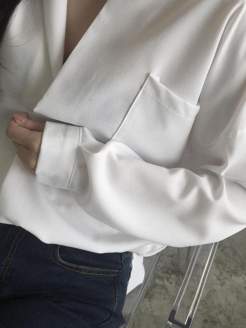 Long Sleeve Solid Casual Blouse