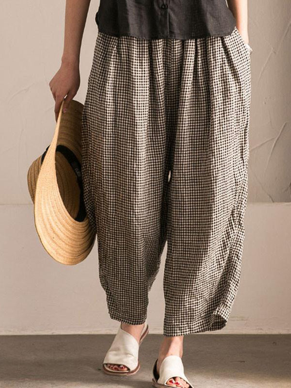 Pockets Shift Checkered/Plaid Casual Pants