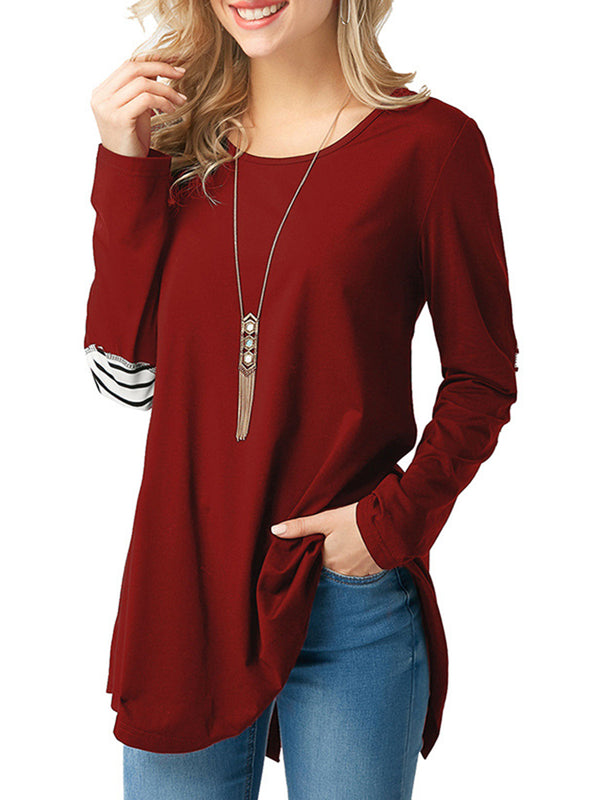 Casual Crew Neck Polyester Paneled Shirt