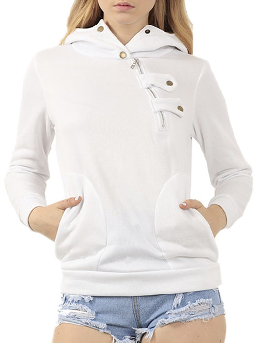 Button-up Asymmetric Hooded Sweatshirt