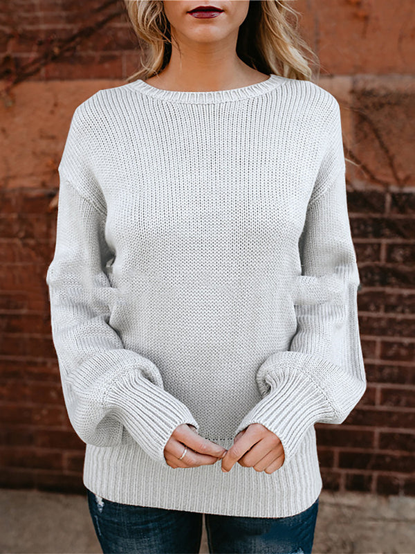 Backless Self-tie Back Chic Knitted Sweaters