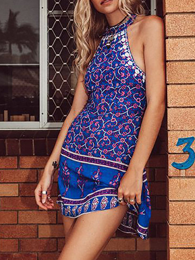 Printed Sleeveless Turtleneck Boho Polyester Summer Dress