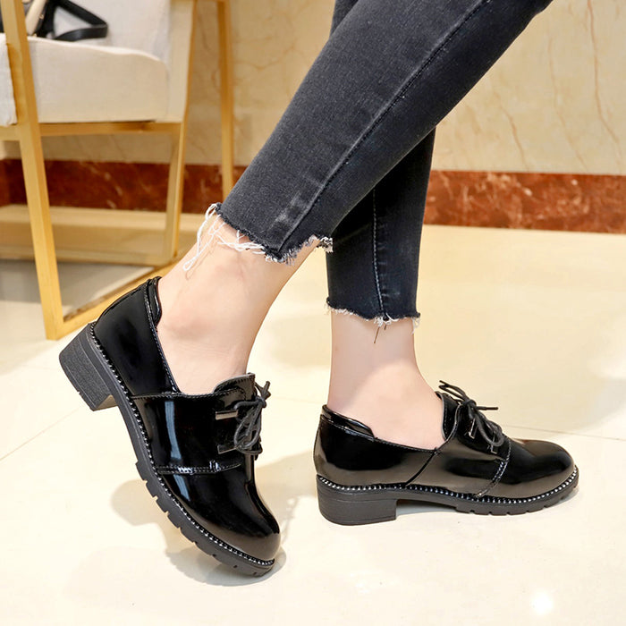 Women Lace-up PU Chunky Heel Daily All Season Boots
