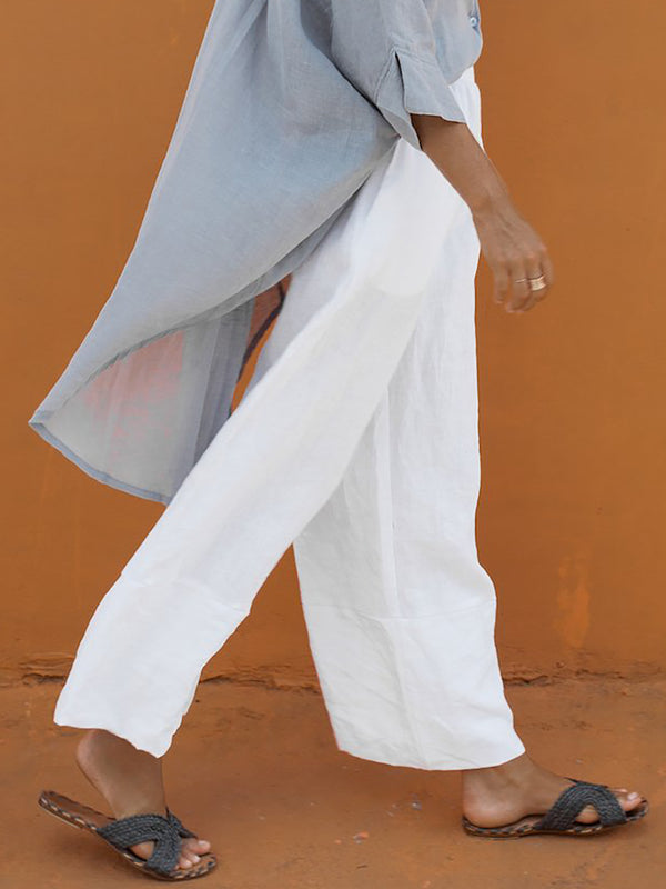 Paneled Casual Solid Linen & Cotton Bottoms