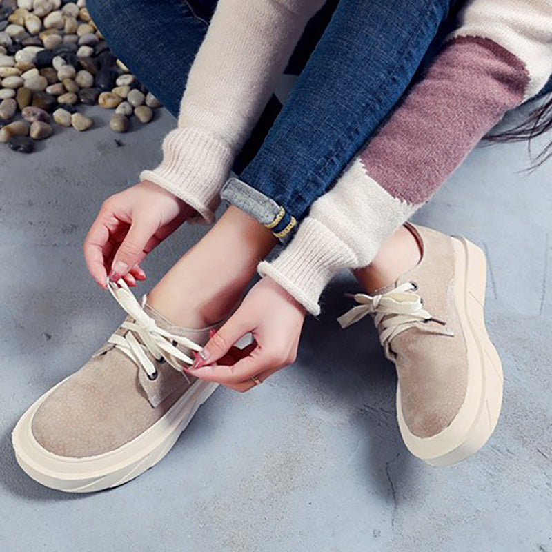 Women Artificial Suede Loafers Casual Comfort Lace Up Shoes