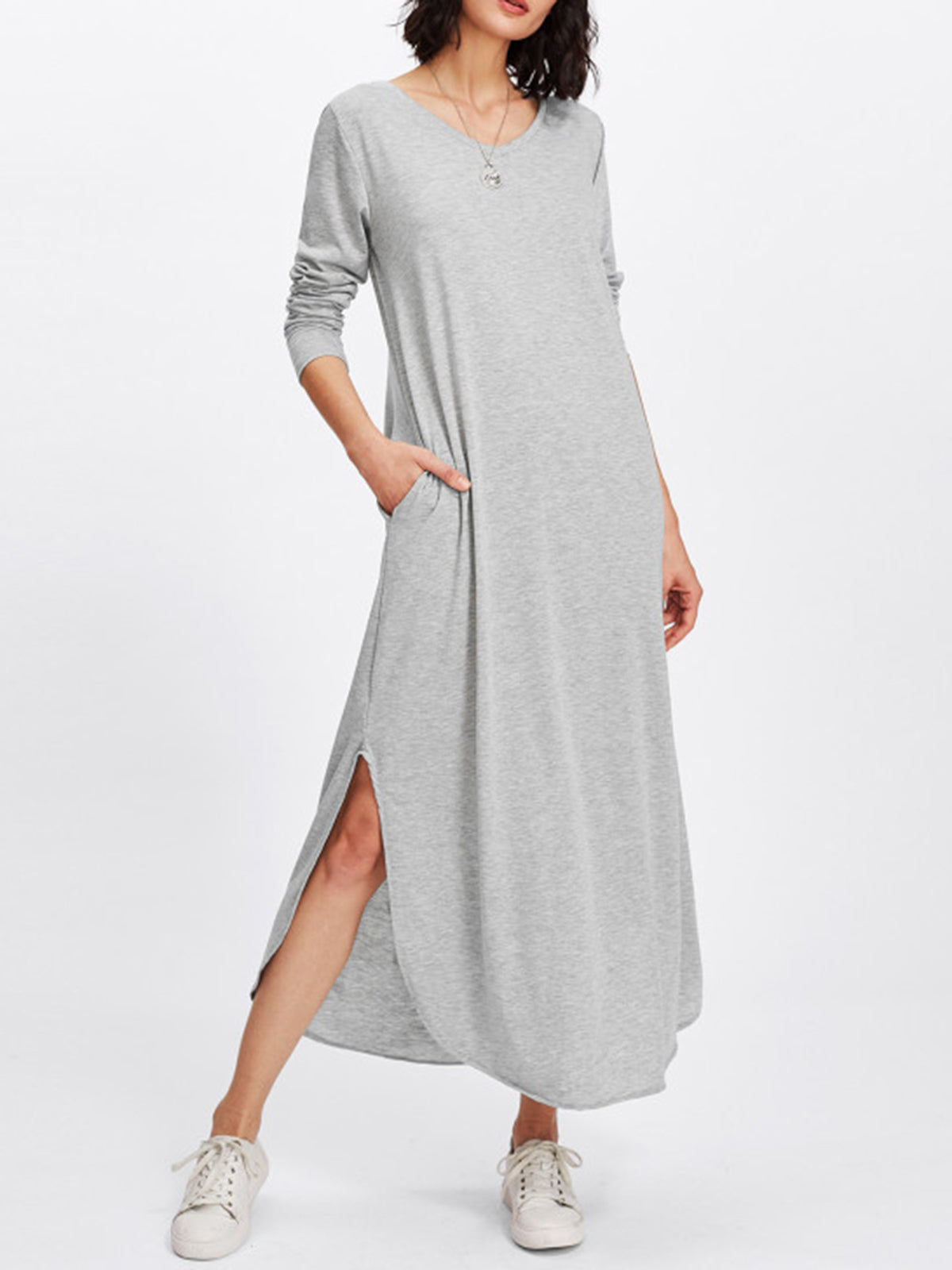 Gray Casual Solid Crew Neck Slit Maxi Dress