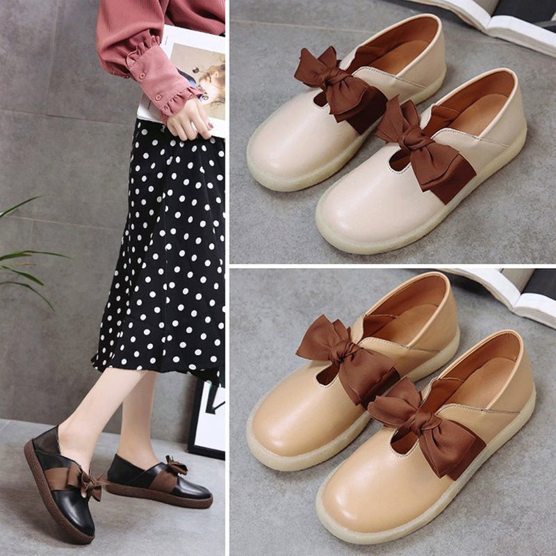 Women PU Flats Casual Comfort Slip On Shoes
