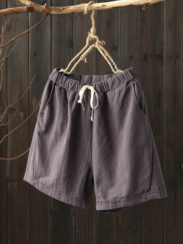 Plus Size Women Linen Casual Pants Solid Pockets Drawcord Shorts