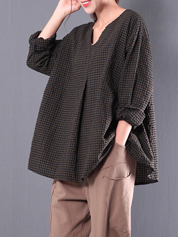Casual Cotton 3/4 Sleeve Gingham Linen Blouse