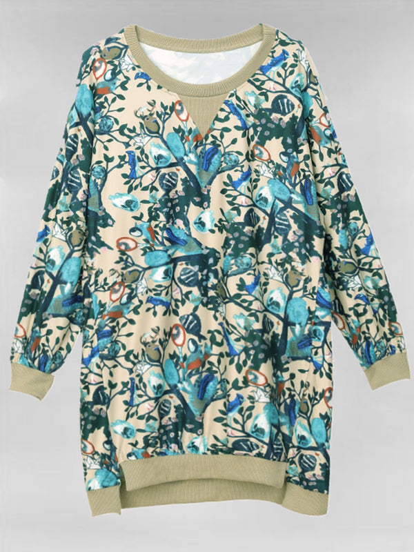 Plus Size Khaki Floral Long Sleeve Casual Tops