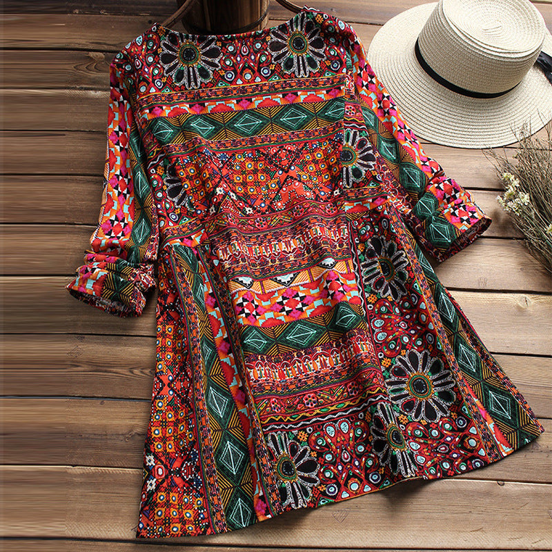 Women Casual Printed Floral Maxi Dress