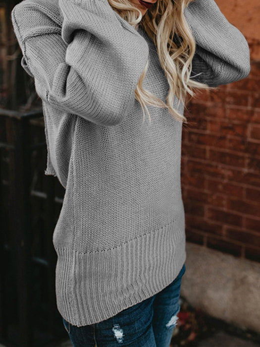 Acrylic Crew Neck Casual Lace Up Sweater