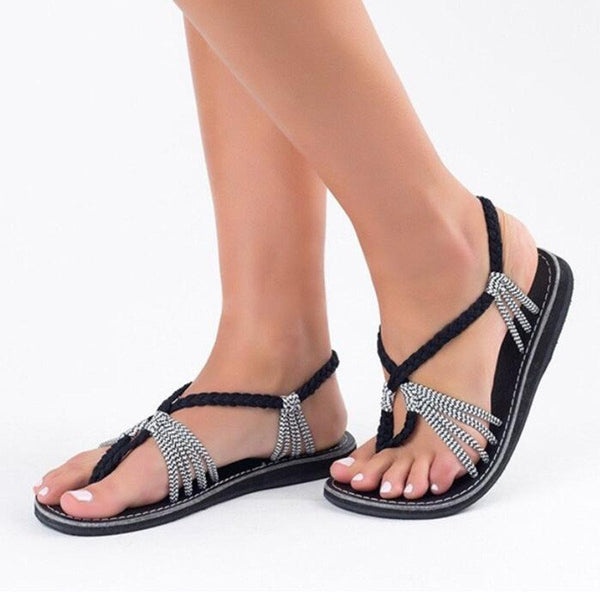 Large Size Braided Flat Heel Holiday Sandals