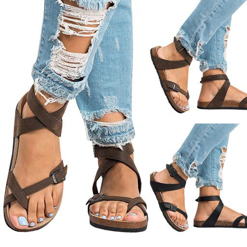 46bb0b864 Ankle Strap Buckle Flip Flop Gladiator Thong Flat Sandals – NORACORA