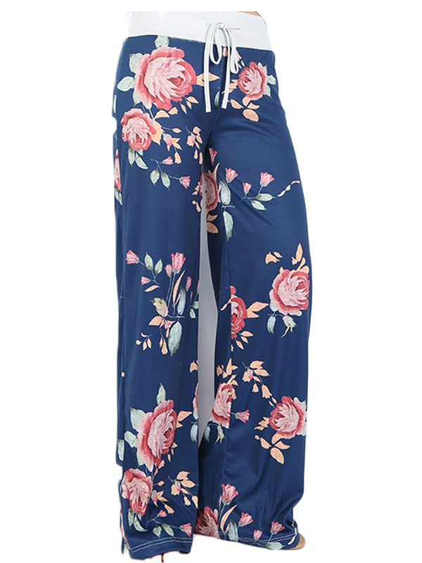 Plus Size Bow Floral Casual Pant