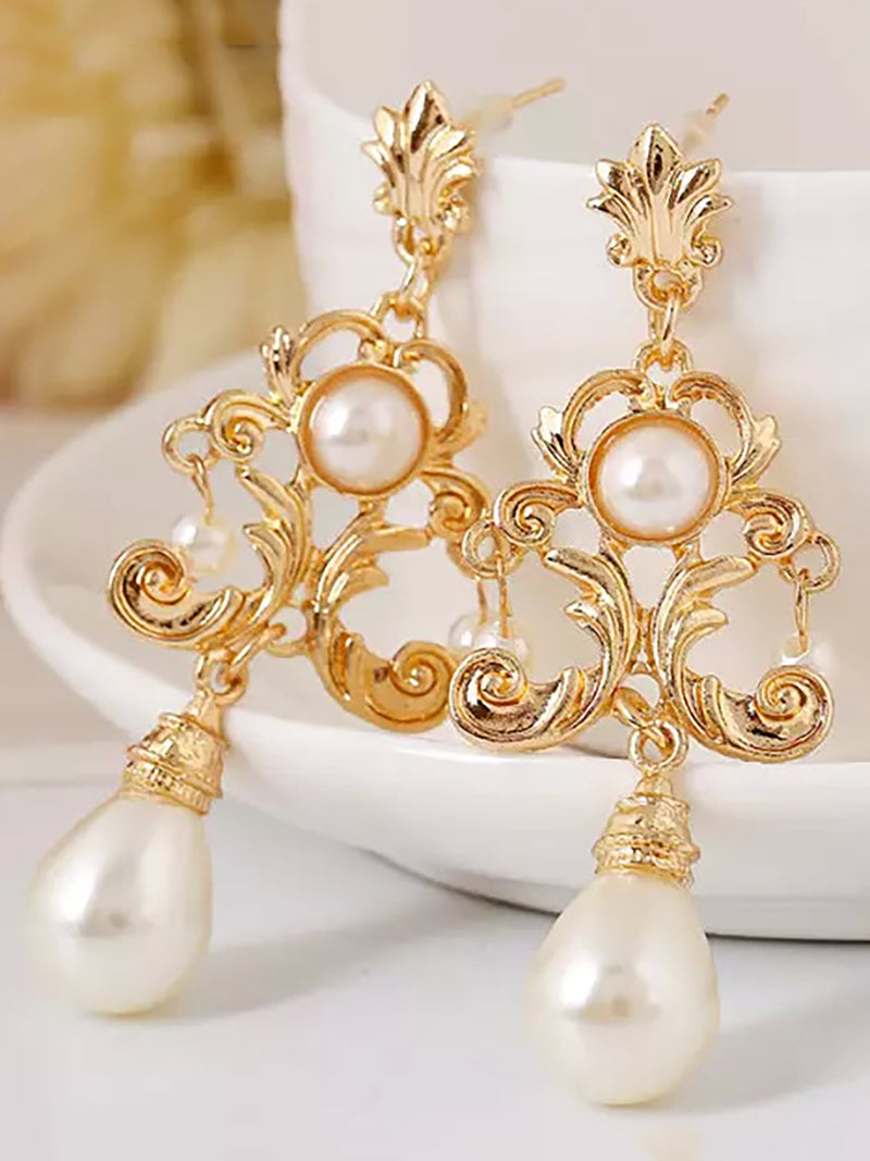Trendy Retro Court Simple Pearl Earrings