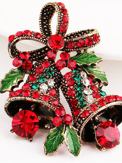 Vintage Alloy Rhinestone Tinkle Bell Christmas Bow Decoration Brooch