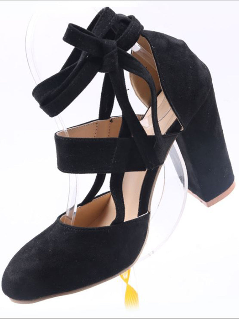 Suede Round Toe Lace Up Chunky Heel Pumps