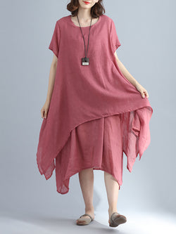 Crew Neck Women Casual Dress A-line Daily Basic Tiered Dress