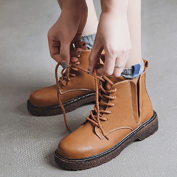 Womens Vintage Low Heel Casual Lace-up Boots
