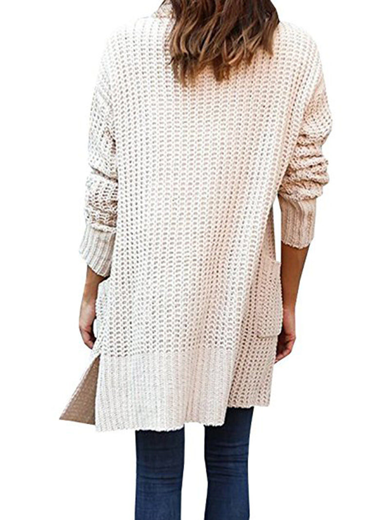 Apricot Casual Pockets Polyester Sweater