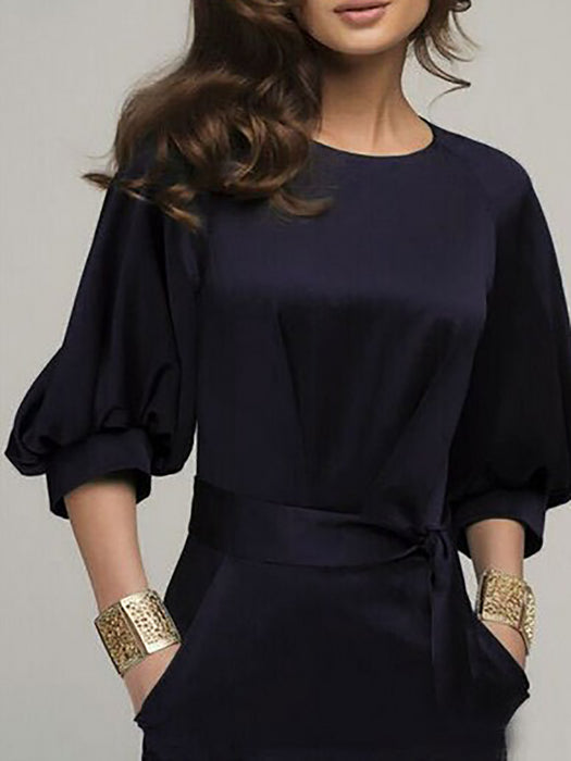 Chiffon Elegant Crew Neck 3/4 Balloon Sleeve Dresses