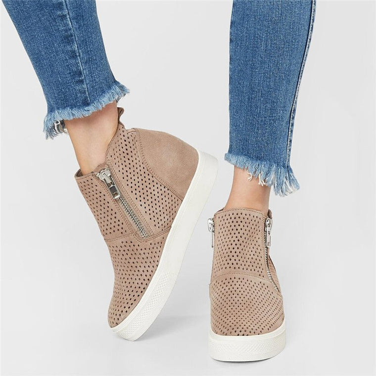 Women Hidden Wedge Sneakers Breathable Booties