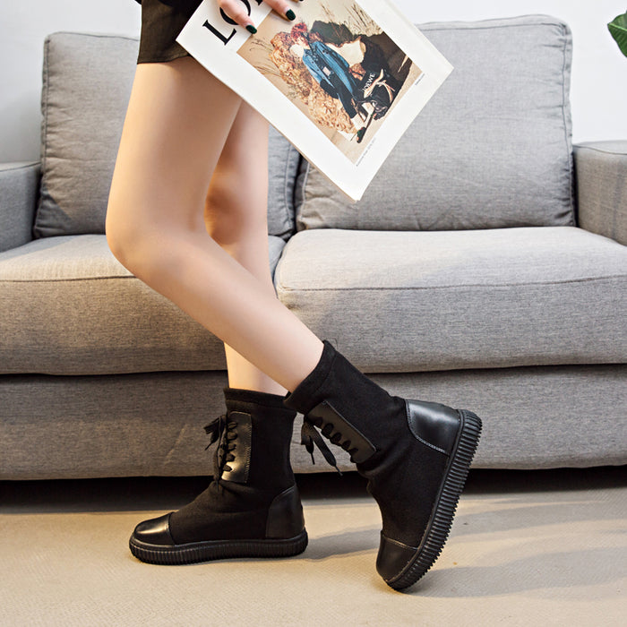 Black Spring/Fall Lace-up Daily Platform Flyknit Fabric Boots