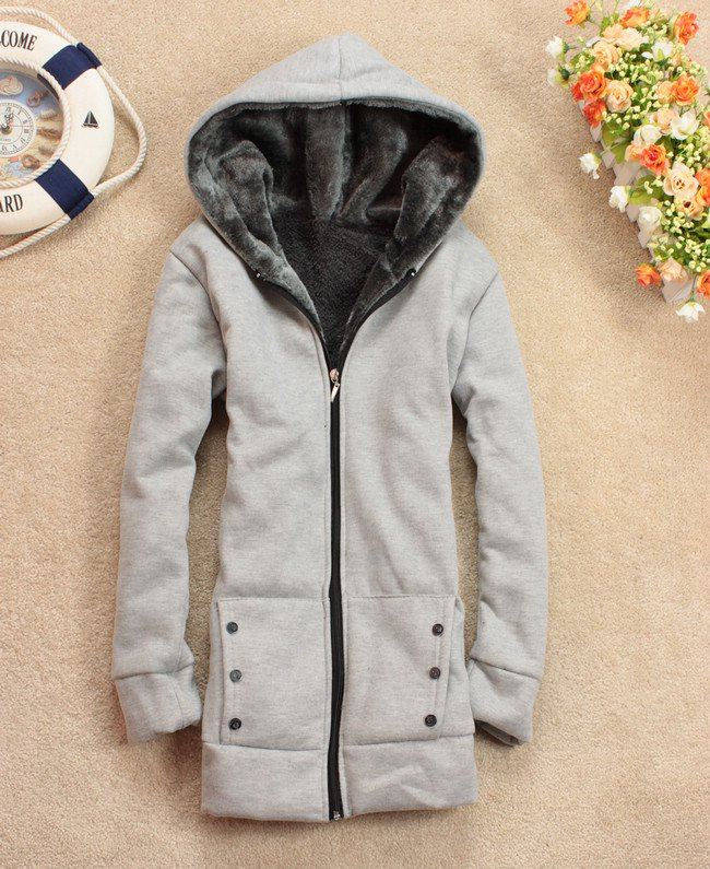 Autumn Hooded Zipper Cotton Blends Thick Wool Hoodies Coats