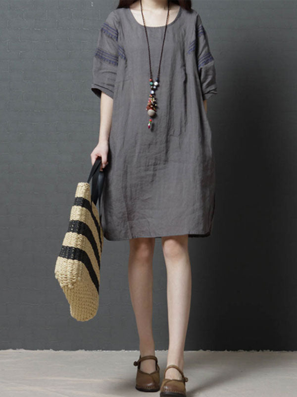 Casual Half Sleeve Linen Mini Dress