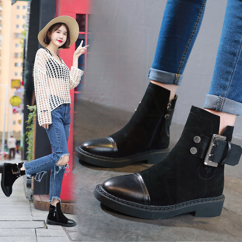 Women Chunky Heel Suede Adjustable Buckle Spring/Fall Daily Boots