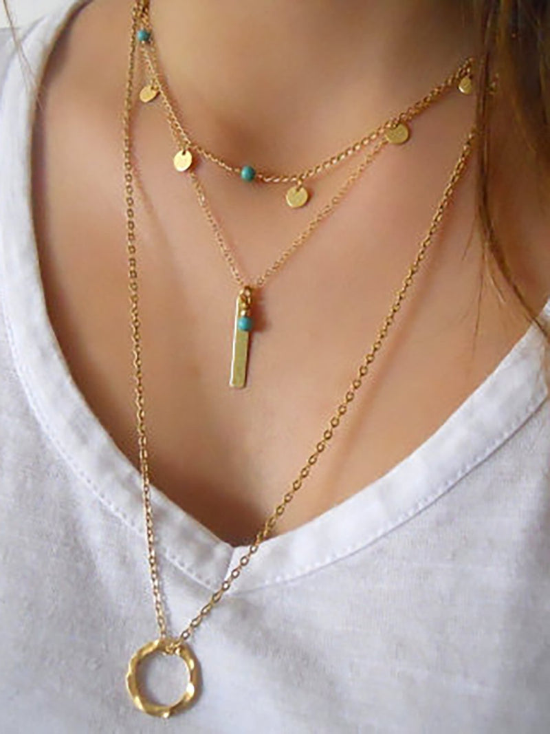 Womens Multi-layers Alloy Necklaces