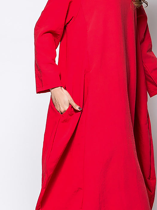 Crew Neck Women Fall Dress Cocoon Daily Paneled Solid Dress
