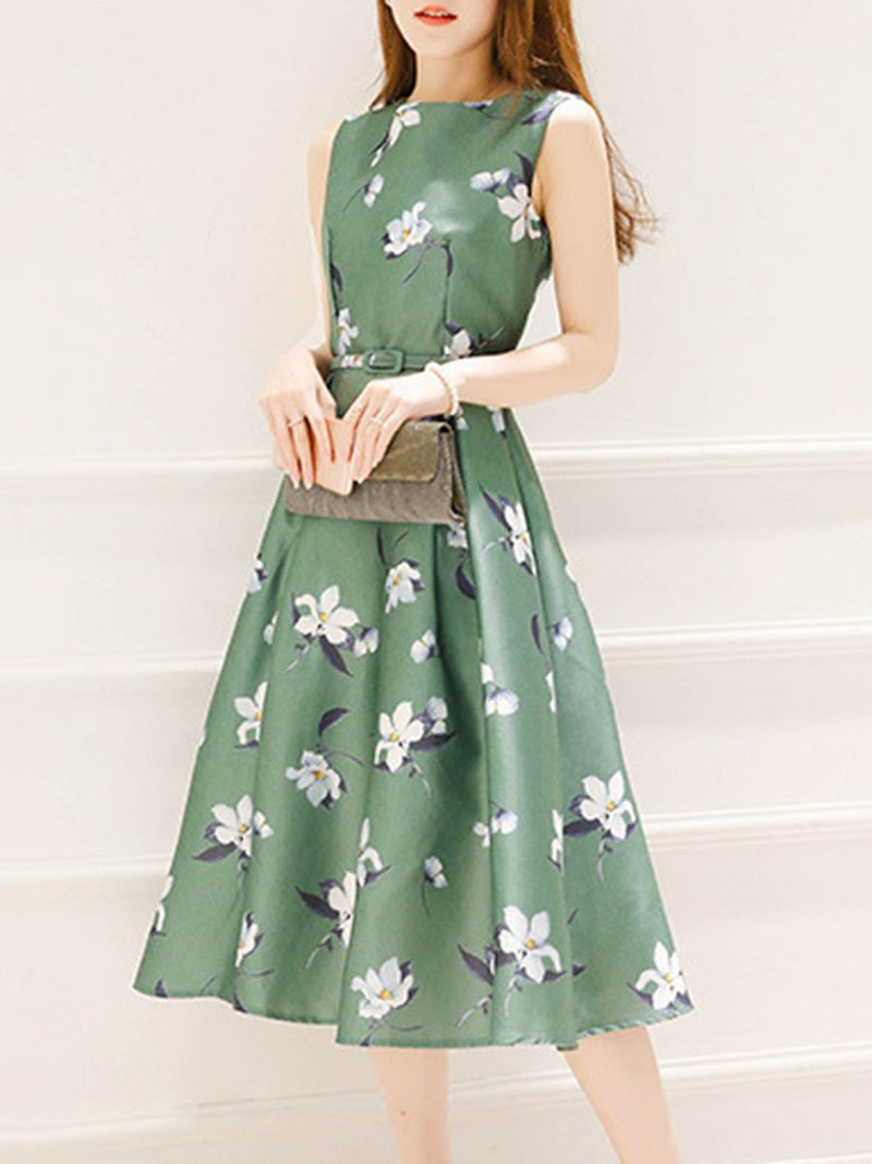Round Neck Belt Floral Printed Summer Midi Skater Plus Size Dress